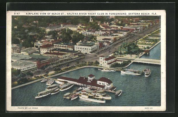 AK Daytona Beach, FL, Airplane View of Beach St., Halifax River Yacht Club in Foreground