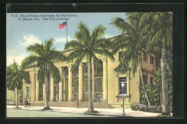 AK Ft. Myers, FL, The City of Palms, Royal Palms and Open Air Post Office