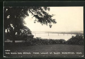AK Muscatine, IA, The River and Bridge from Locust St. Bluff