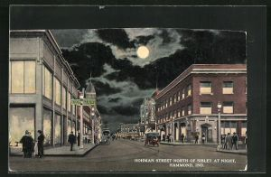 AK Hammond, IN, Hohman Street North of Sibley at Night