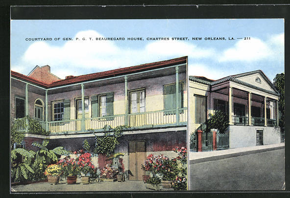 AK New Orleans, LA, Courtyard of Gen. P. G. T. Beauregard House, Chartres Street