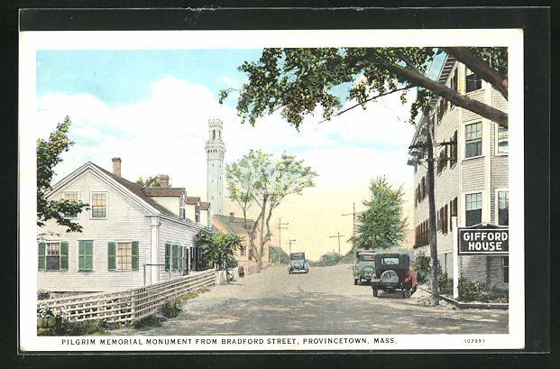 AK Provincetown, MA, Pilgrim Memorial Momument from Bradford Street
