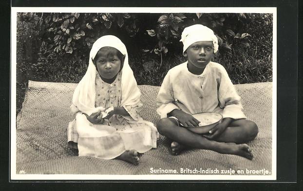 AK Suriname, Britsch-Indisch zusje en broertje
