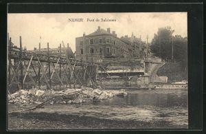 AK Namur, Pont de Salzinnes, zerstörte Brücke