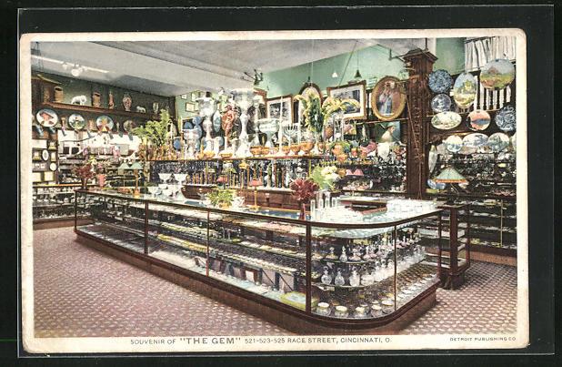 AK Cincinnati, OH, Souvenir of The Gem, Race Street, Innenansicht