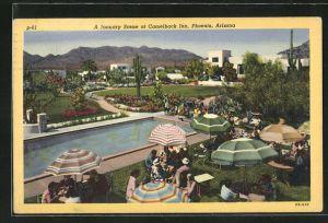AK Phoenix, AZ, A January Scene at Camelback Inn, Teilansicht mit Swmming Pool