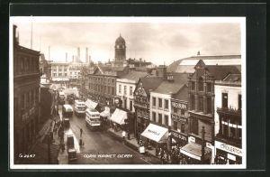 AK Derby, Corn Market mit Strassenbahnen