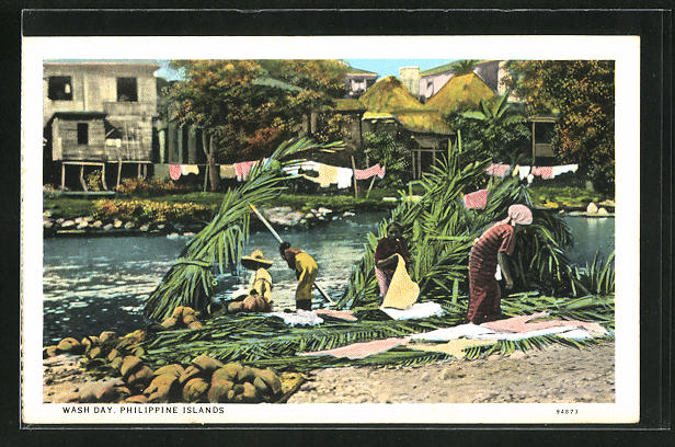 AK Philippinen, wash day, Waschfrauen am Flussufer