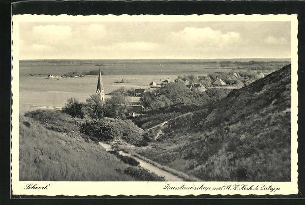 AK Schoorl, Duinlandschap met R. K. Kerk te Catryp