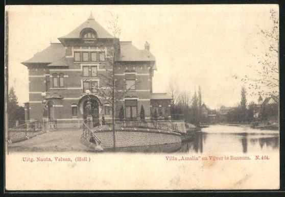 AK Bussum, Villa Amalia en Vijver