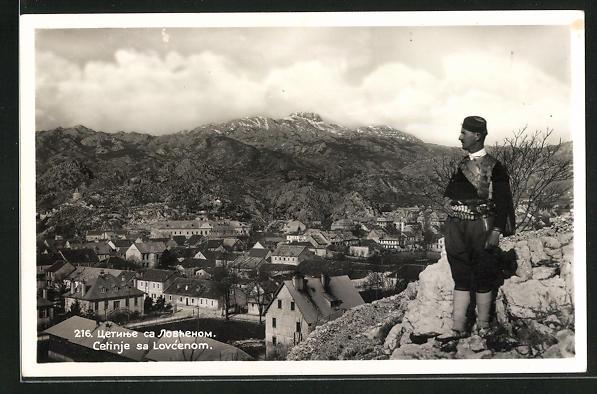 AK Cetinje / Cettigne, Panoramablick vom Berg