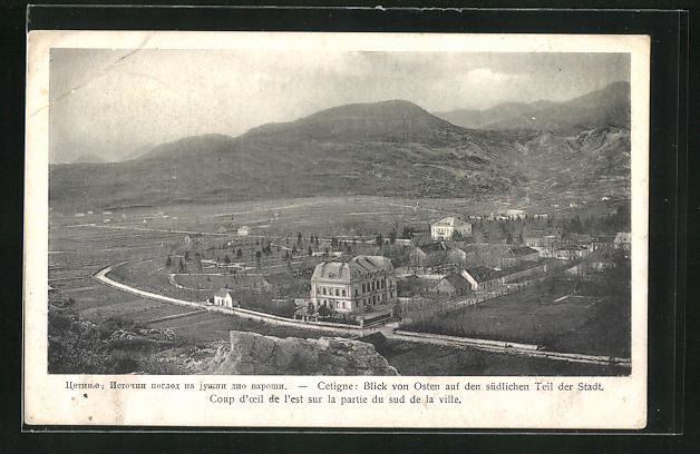 AK Cetinje / Cettigne, Blick von Osten auf den Ort
