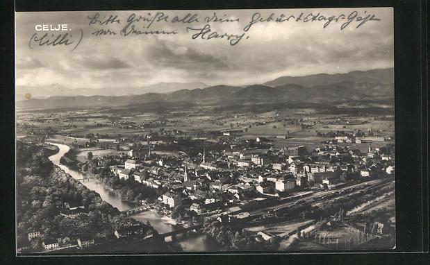 AK Celje / Cilli, Luftaufnahme des Ortes