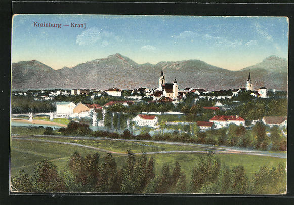 AK Krainburg / Kranj, Blick vom Berg zum Ort