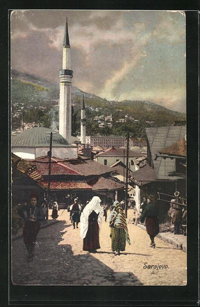 AK Sarajewo, Ortsansicht mit Anwohnern auf der Strasse