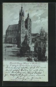 Mondschein-AK Krakau-Krakow, Kosciol Panny Maryi