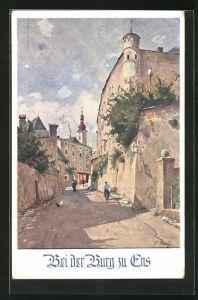 Künstler-AK Enns, Gassenpartie an der Burg