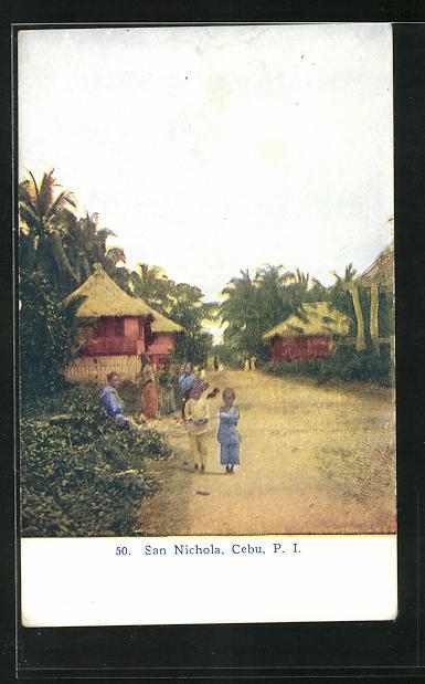 AK San Nichola / Cebu, Strasse im Dorf