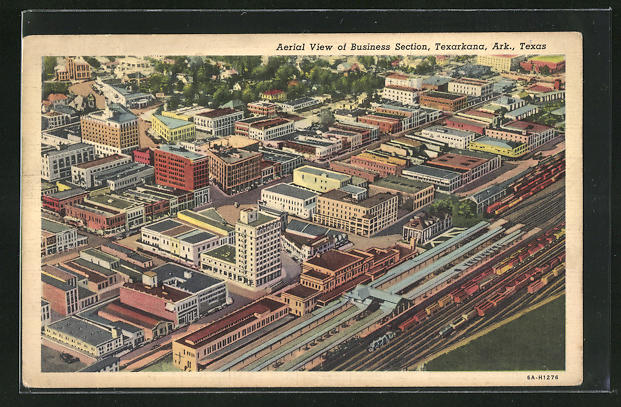 AK Texarkana, TX, Aerial View of Business Section
