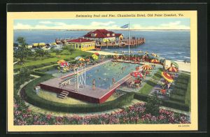 AK Old Point Comfort, VA, Chamberlin Hotel, Swimming Pool and Pier