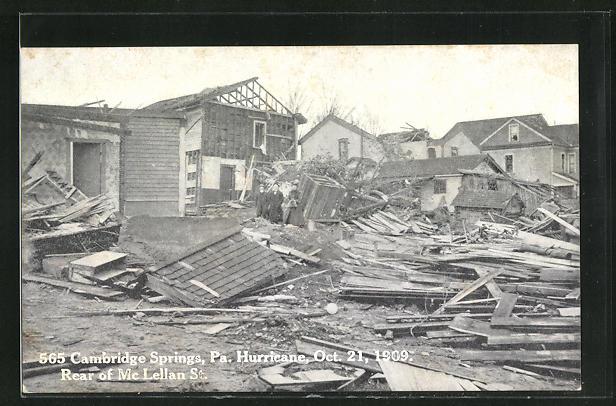 AK Cambridge Springs, PA, Hurricane Schäden, Oct. 21, 1909, Rear of Mc Lellan St.