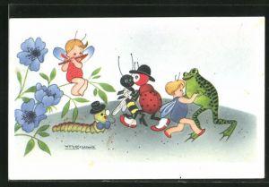 Künstler-AK Willy Schermele: Frosch tanzt mit Fee, Käfer, Wespe, Raupe