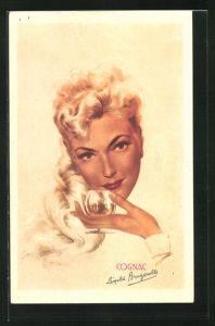 AK Reklame für Cognac, Blonde Frau hält Cognacschwenker
