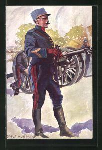 Künstler-AK sign. Emile Hubert: Schweizer Artillerie-Offizier in Uniform