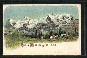 Lithographie Schweiz, Blick auf Eiger, Mönch & Jungfrau, Halt gegen das Licht: Mondlicht