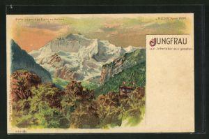 Lithographie Interlaken, Blick auf die Jungfrau, Halt gegen das Licht: Alpenglühen