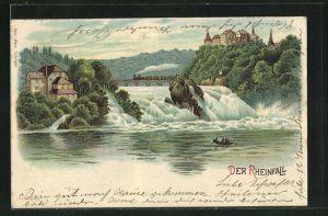 Lithographie Panoramablick auf den Rheinfall, Halt gegen das Licht: Mondenschein