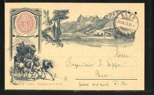 Vorläufer-Lithographie Ganzsache zum Andenken an die Einführung der Briefmarken i. d. Schweiz, 1893, Schweiz. Landschaft