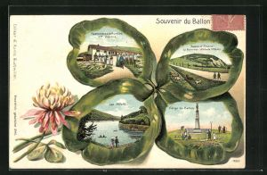 Passepartout-Lithographie Ballon d`Alsace, Restaurant à la frontière, Vierge du Ballon, Ansichten auf Kleeblatt