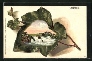 Passepartout-Lithographie Ansicht vom Rheinfall auf einem Efeublatt