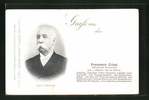 AK Portrait Francesco Crispi, italienischer Staatsmann