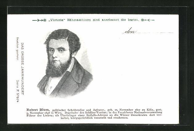 AK Portrait Robert Blum, politischer Schriftsteller und Agitator, 1807-1848