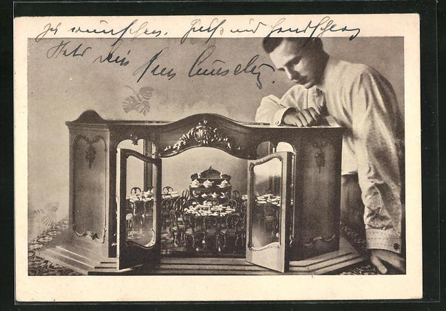 AK Das kleinste Porzellanservice der Welt, Meissner Porzellan