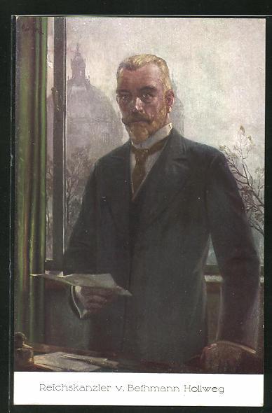 AK Portrait Reichskanzler von Bethmann Hollweg im Anzug mit einem Schriftstück