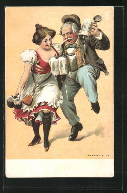Künstler-AK Herr u. Dame tanzen mit Bierkrügen