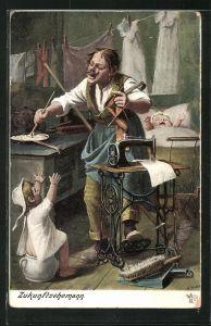 AK Zukunftsehemann, Mann mit Kindern an der Nähmaschine