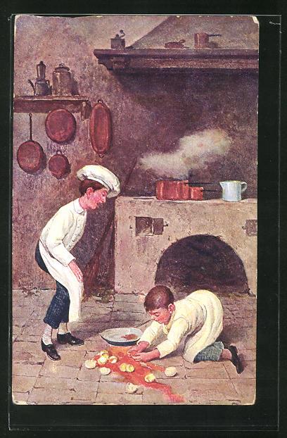 AK Küchenjungen mit zerbrochenen Eiern