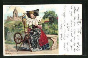 Lithographie Frau in Tracht von Schaumburg-Lippe am Spinnrad
