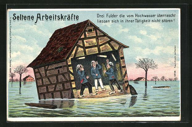 AK Drei Fulder die vom Hochwasser überrascht, liessen sich in ihrer Tätigkeit nicht stören!