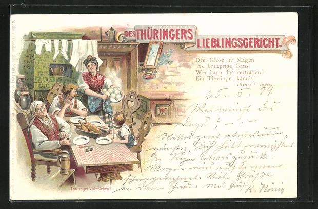 Künstler-AK Des Thüringers Lieblingsgericht, Ente mit Klössen