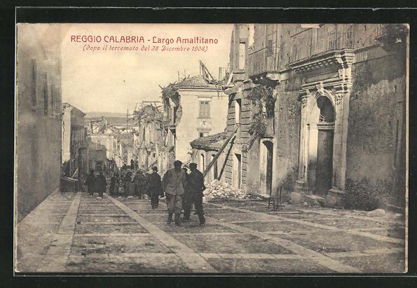 AK Reggio Calabria, Largo Amalfitano, Zerstörungen nach Erdbeben 1908