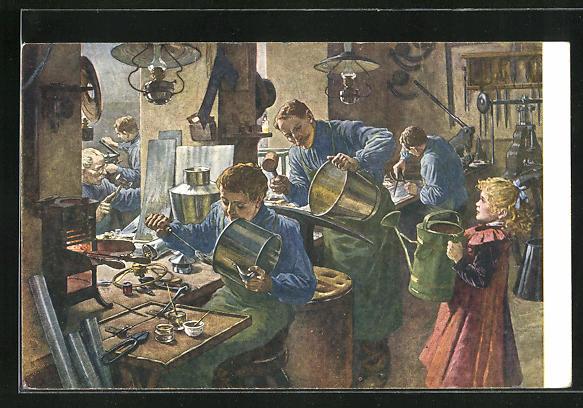 Künstler-AK Blick in eine Klempner-Werkstatt