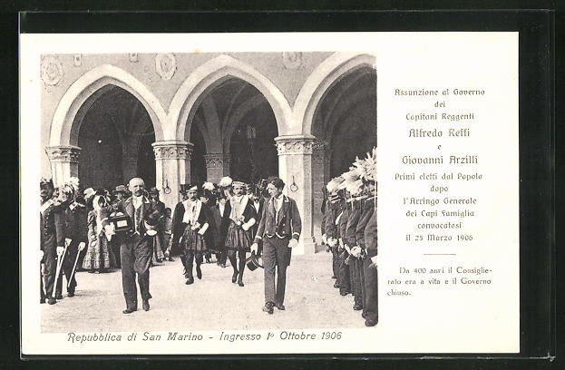 AK Repubblica di San Marino, Ingresso 1.10.1906, Capitani Reggenti Alfredo Reffi e Giovanni Arzilli