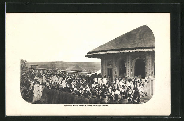 AK Gennet, Prozession Kaiser Menelik`s an der Kirche