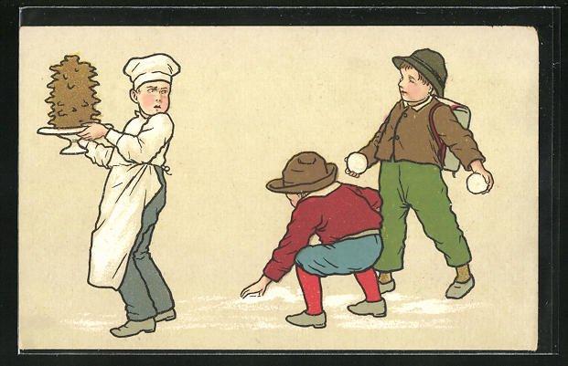 AK Bäckerjunge wird mit Schneebällen beworfen