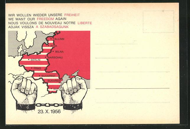 AK Wir wollen wieder unsere Freiheit, ehemalige deutsche Ostgebiete, Hände in Ketten